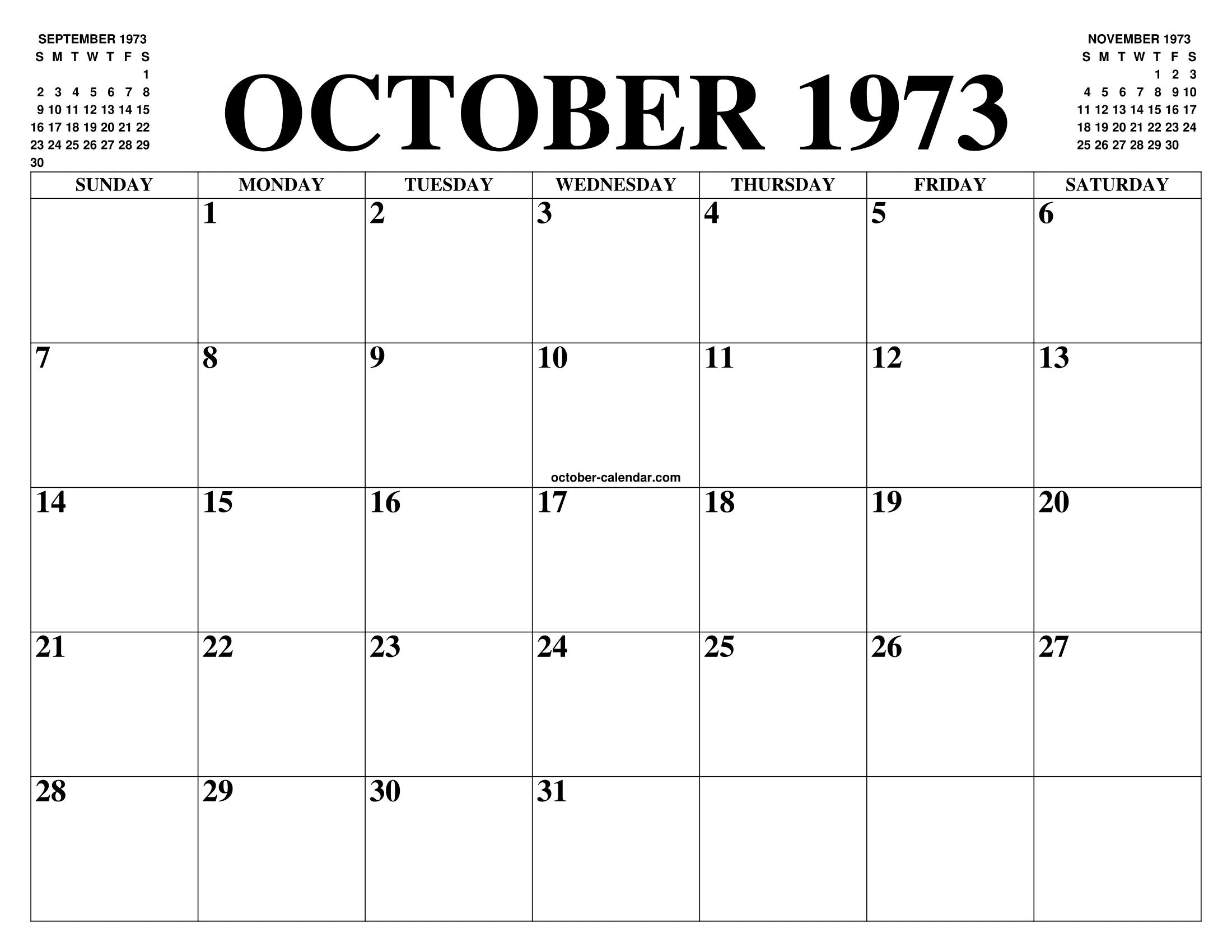Calendario 1973.October 1973 Calendar Of The Month Free Printable October
