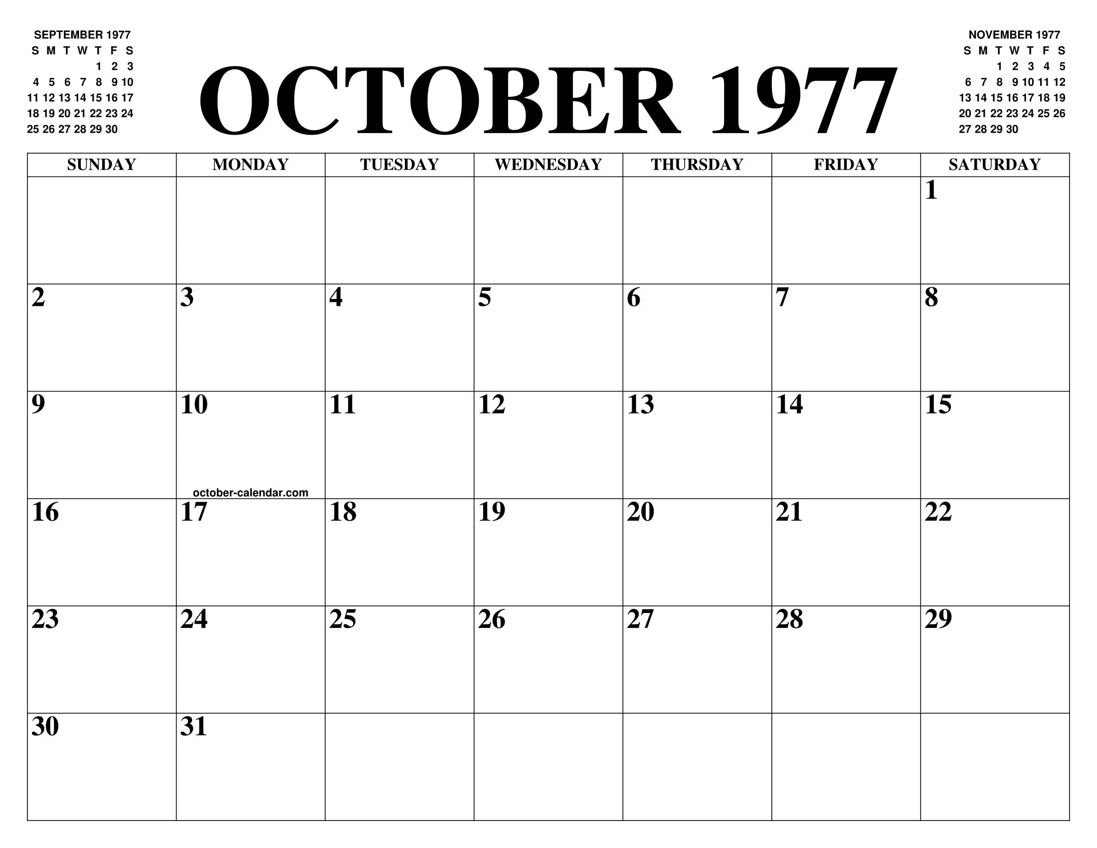 October 1977 Calendar Of The Month Free Printable October Calendar