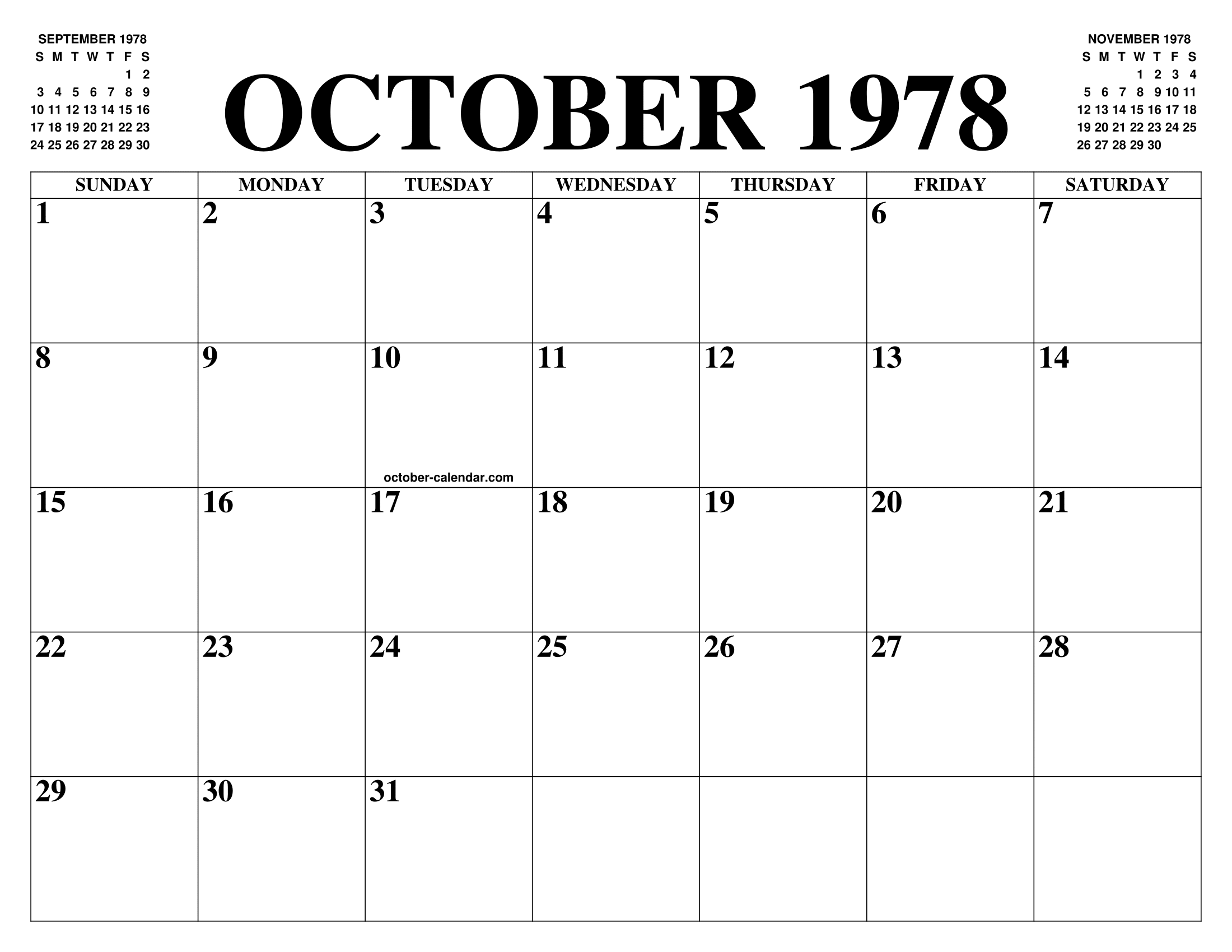 October 1978 Calendar Of The Month Free Printable October Calendar