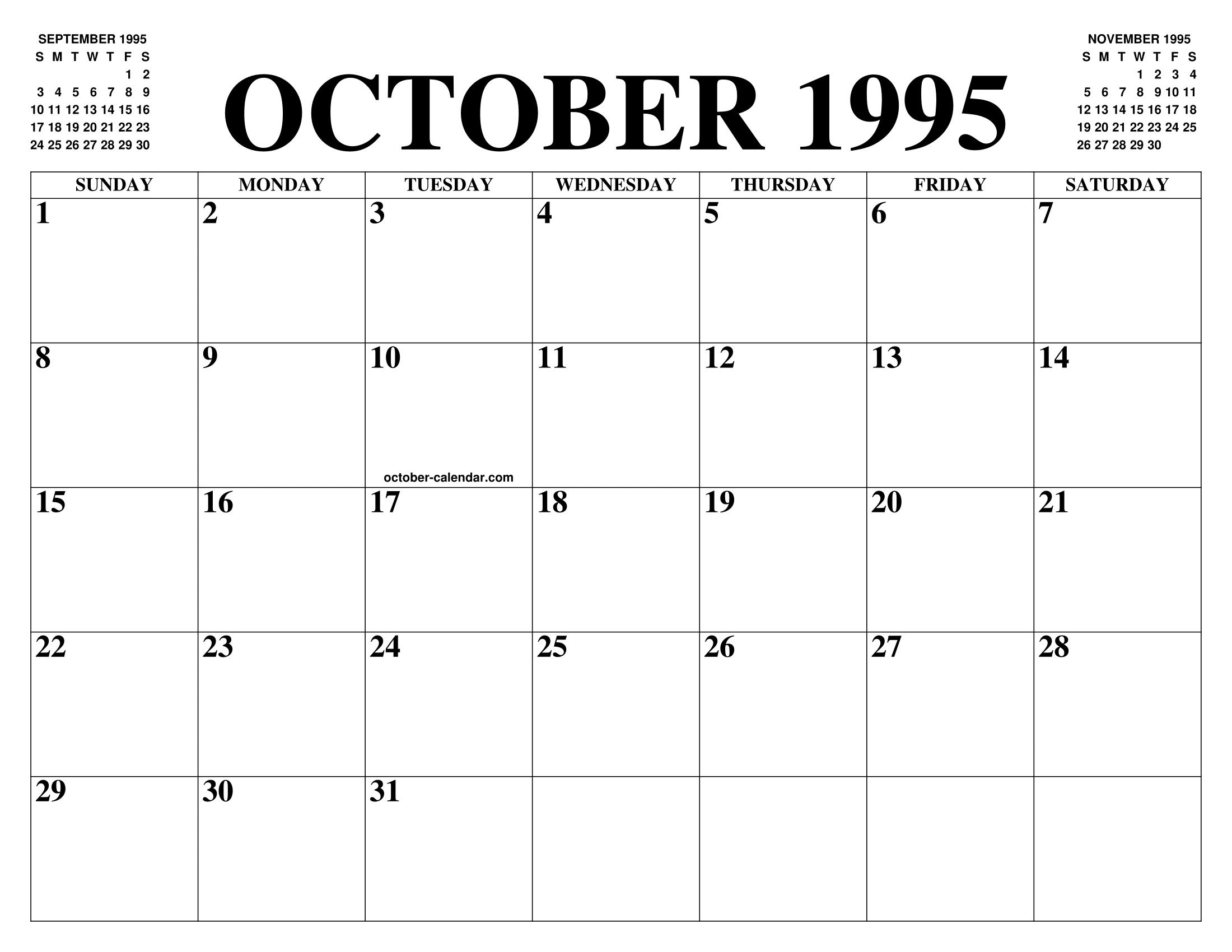 October 1995 Calendar Of The Month Free Printable October Calendar