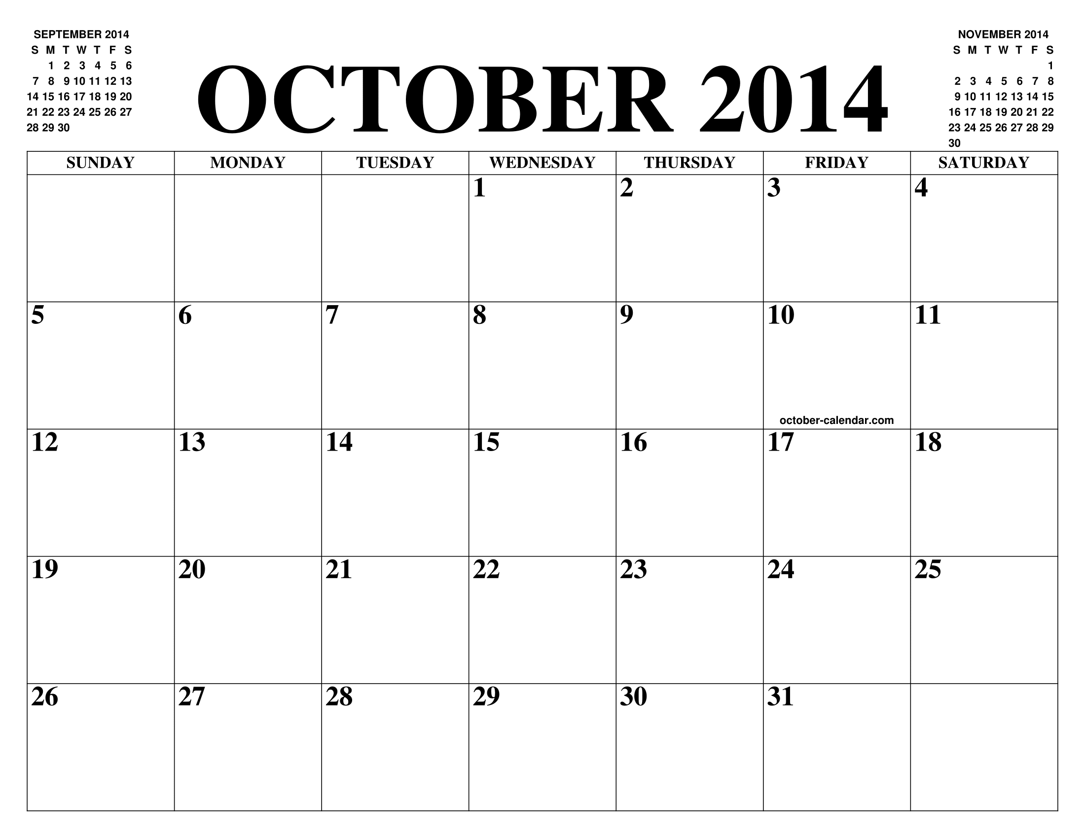 October 2014 Calendar | Templates for Word, Excel and PDF