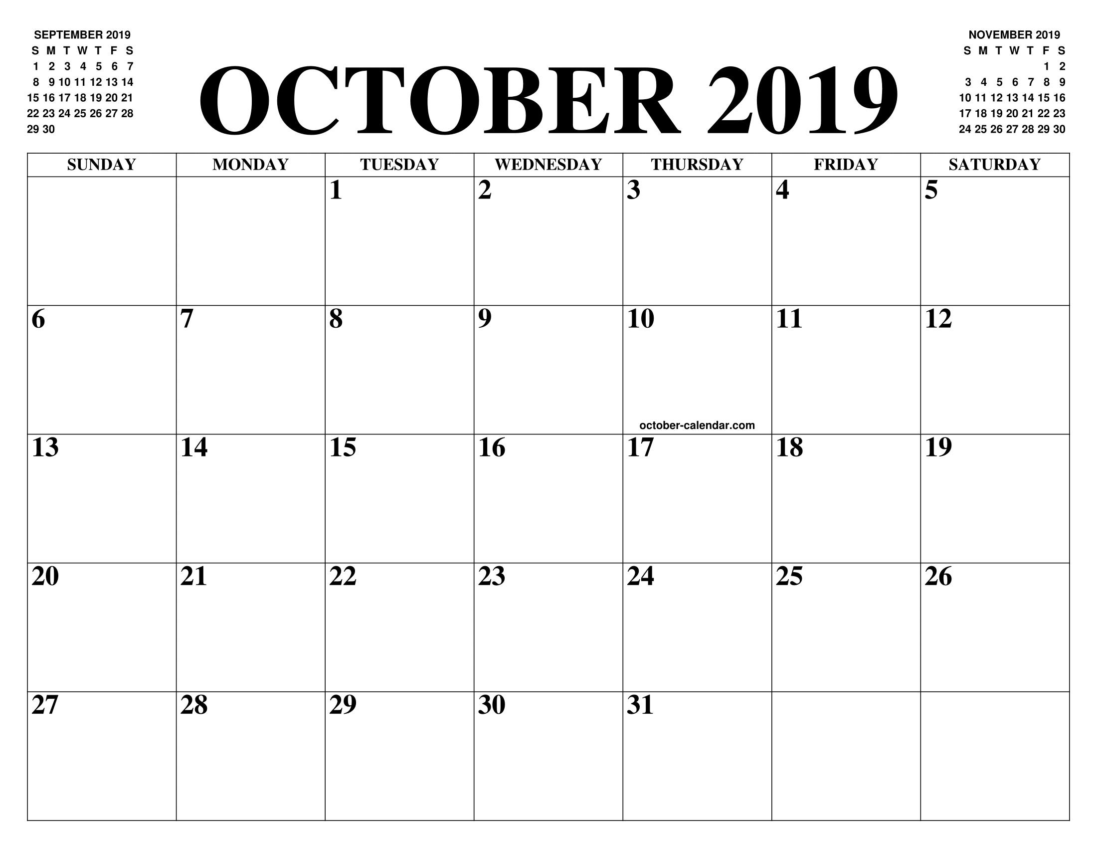 Calendrier Destiny 2.October 2019 2020 Calendar Of The Month Free Printable