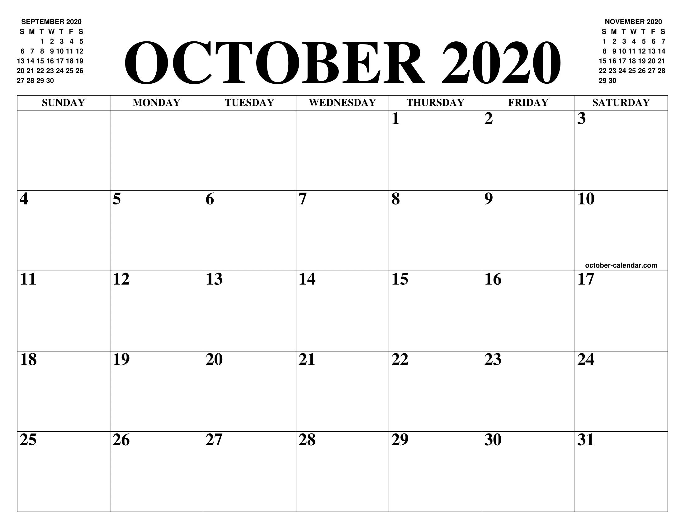 Calendario 2020 Gratis Con Foto.October 2020 Calendar Of The Month Free Printable October
