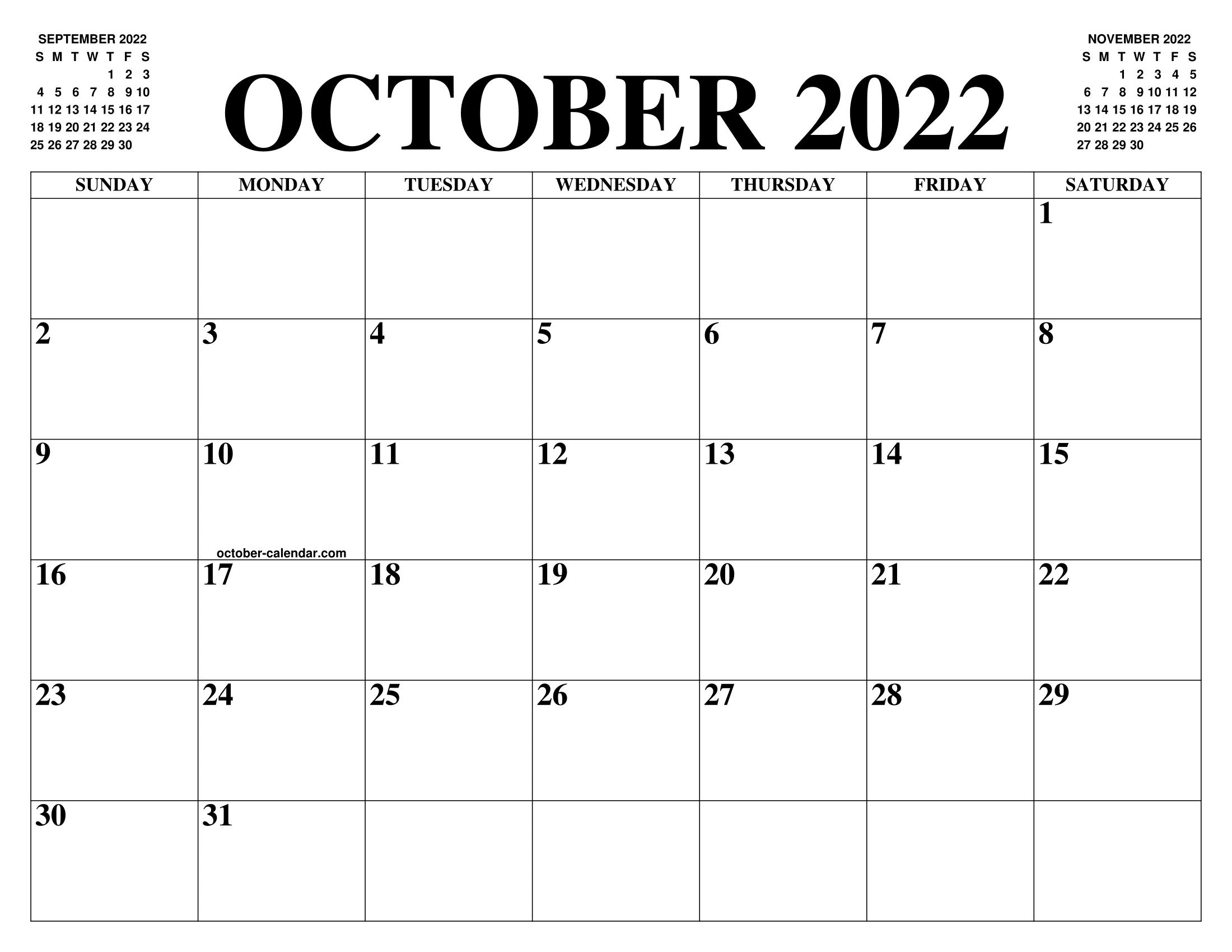 Free Printable Calendar October 2022.October 2022 Calendar Of The Month Free Printable October Calendar Of The Year Agenda